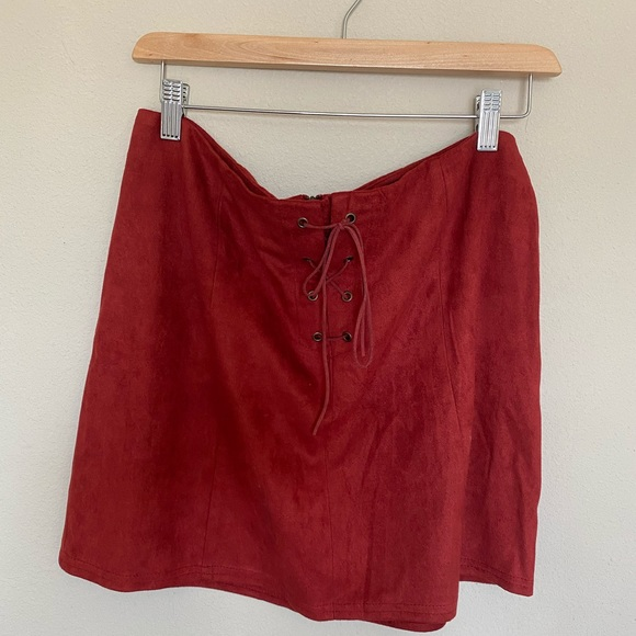Dresses & Skirts - Red suede skirt